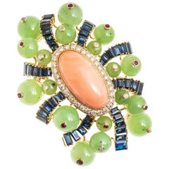 Poincot 18Ky Coral Diamond Sapphire Ruby and Jade Vintage Retro Brooch/Fur Pin