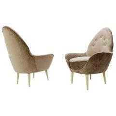 Pointed Back Italian Armchairs, New Grey Velvet Upholstery