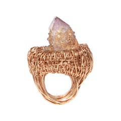 Pointed Cactus Quartz Rose Gold Woven Statement Cocktail Ring by Sheila Westera