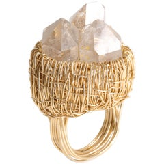 Pointed Rock Crystal Yellow Gold Statement Cocktail Ring by Sheila Westera