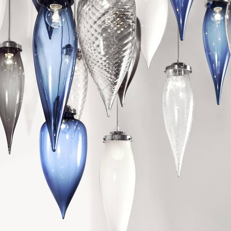 Pointelle Grand Crystal Handblown Modern Glass Pendant Light, Made in the USA For Sale 4