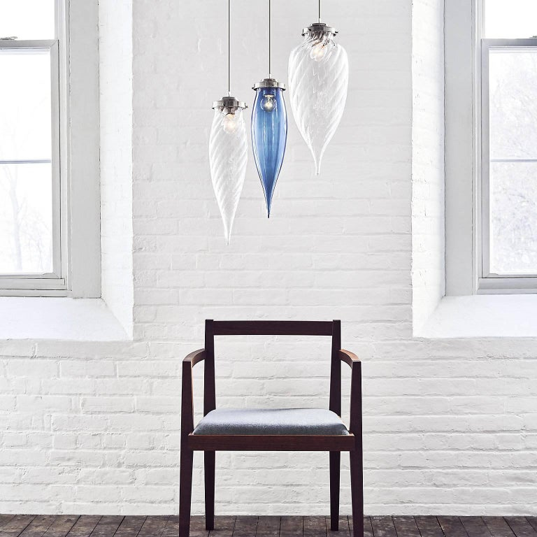 Pointelle Grand Opaline Handblown Modern Glass Pendant Light, Made in the USA For Sale 5