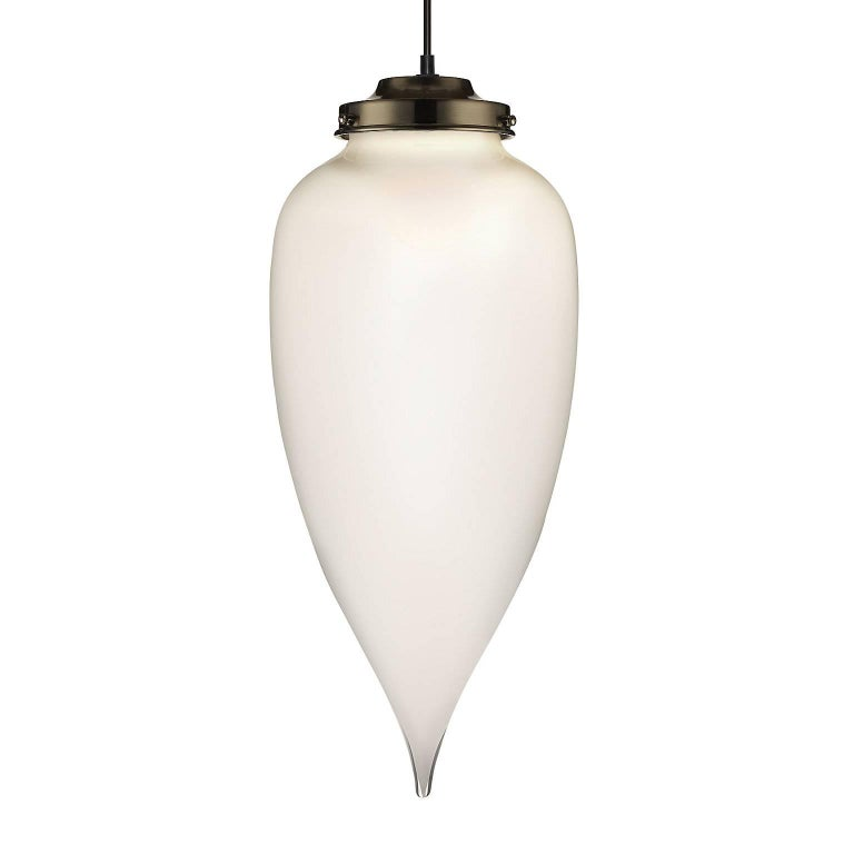 Pointelle Grand Opaline Handblown Modern Glass Pendant Light, Made in the USA For Sale