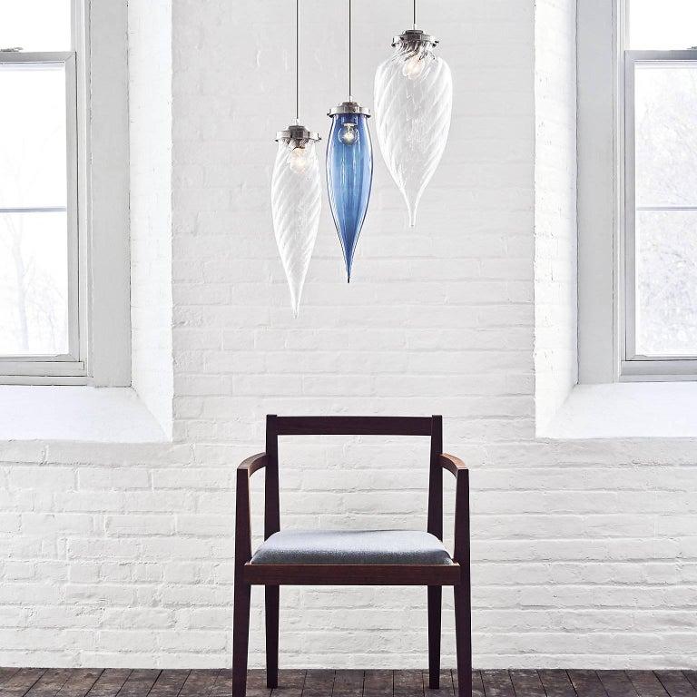 Pointelle Grand Torrent Handblown Modern Glass Pendant Light, Made in the USA For Sale 5
