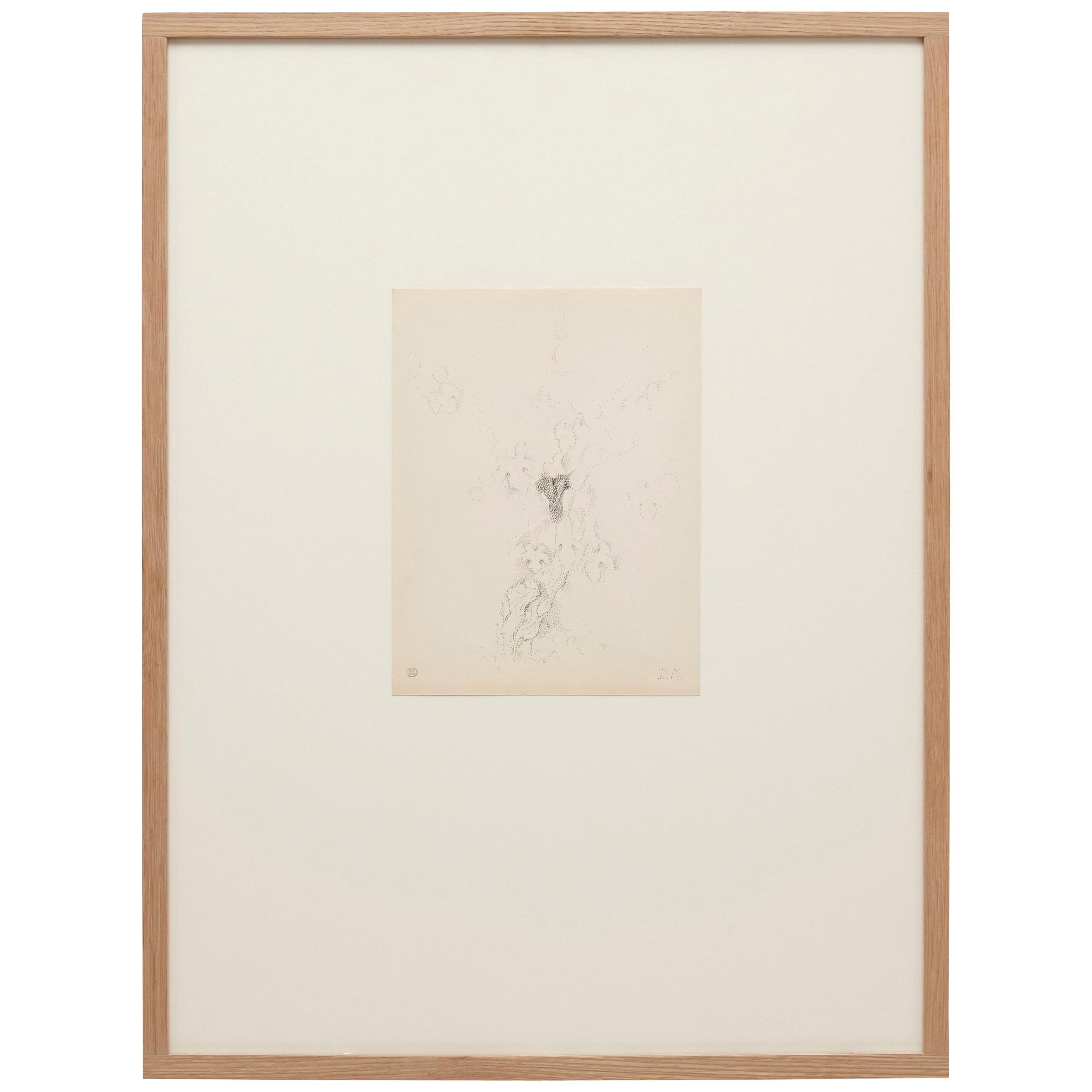 Pointillist Drawing on Paper by Dora Maar