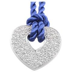 Poiray 18 Karat Gold 0.76 Carat Diamond Pendant & Periwinkle Blue Cord Necklace