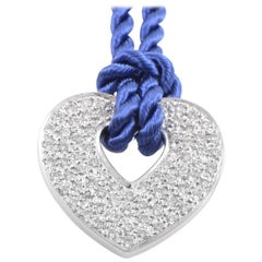 Poiray 18 Karat Gold Diamond Pendant & Periwinkle Blue Cord Necklace PPC0030RBLU