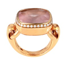 Poiray 18 Karat Rose Gold Diamond and Rose Quartz Ring PPD3153