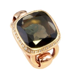 Poiray 18 Karat Rose Gold Diamond Smoky Quartz Ring PPD3013