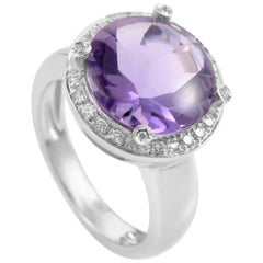 Poiray 18 Karat White Gold Amethyst and Diamond Ring PPD2063