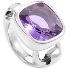 Poiray 18 Karat White Gold Amethyst Ring