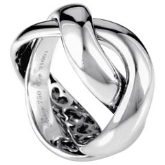 Poiray 18 Karat White Gold Braided Band Ring PPD1010