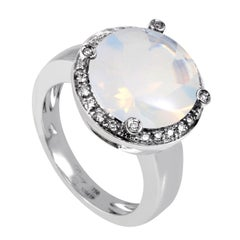 Poiray 18 Karat White Gold Diamond and Milky Quartz Ring PPD2133