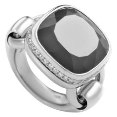 Poiray 18 Karat White Gold Gray Agate and Diamond Indrani Ring