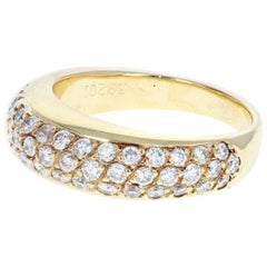 Poiray 18 Karat Yellow Gold and Pave Diamond Ring 0.45 Carat 5.4g