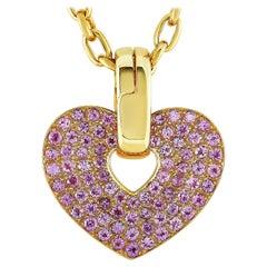 Poiray 18 Karat Yellow Gold Pink Sapphire Heart Pendant Necklace