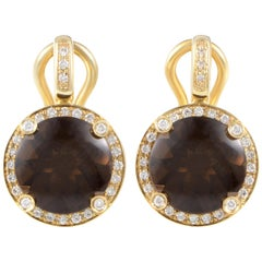 Poiray Girls 18 Karat Gold Diamond and Smoky Quartz Huggie Earrings PPI1014