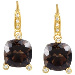 Poiray Girls 18 Karat Yellow Gold Diamond and Smoky Quartz Earrings PPI1012