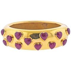 Poiray Heart Ruby Gold Bangle Bracelet