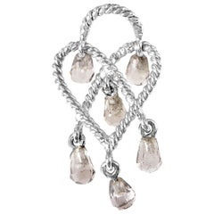 Poiray in Love Heart 18 Karat Gold and Smoky Quartz Briolettes Pendant PPC9102