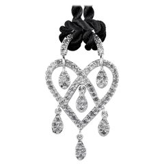 Poiray in Love Heart 18 Karat Gold Diamond Pendant and Cord Necklace PPC9135BLK