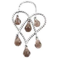 Poiray in Love Heart 18 Karat White Gold and Smoky Quartz Briolette Pendant