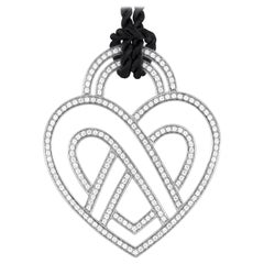 Poiray Large 18 Karat Gold Diamond Heart Pendant and Black Cord Necklace PPC8952