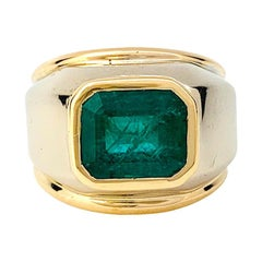 Poiray Signet Two Colors of Gold Ring Set with an Emerald