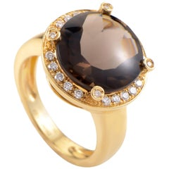 Poiray Smoky Quartz and Diamond Yellow Gold Ring