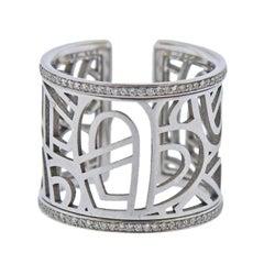 Poiray White Gold Diamond Wide Band Ring