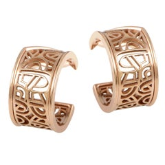 Poiray Wire Heart Framework 18 Karat Rose Gold Hoop Earrings PPH8710