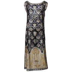 Poiret Style Art Deco Evening Dress in Gold and Silver Lamé Lace Circa 1925