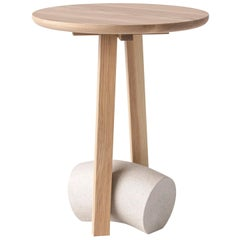 Poise Contemporary Side Table in Solid Ash Hardwood and Concrete by Desmond Lim