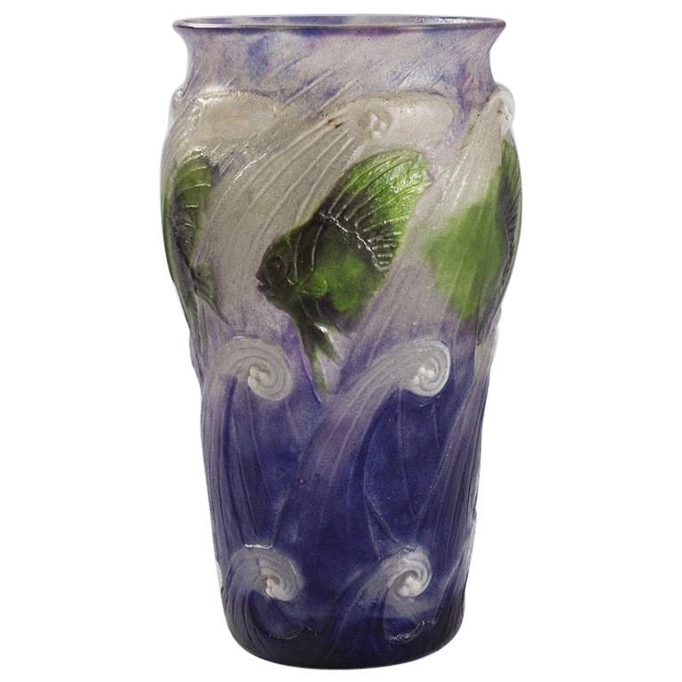 """""""Poissons Dans Les Vagues"""" Vase by Gabriel Argy-Rousseau For Sale"""