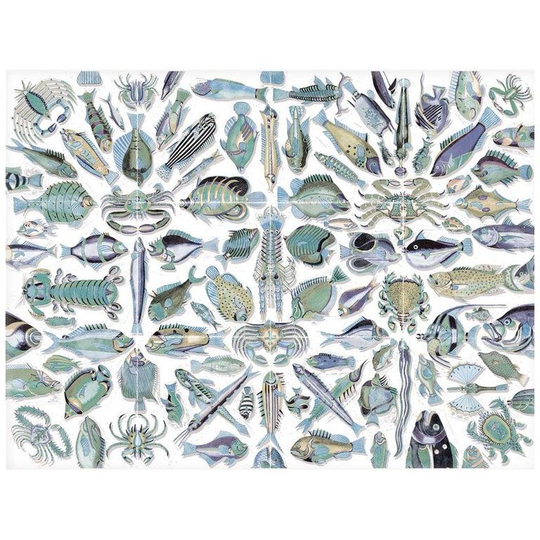 Poissons du Mangi - custom mural wallpaper (sea green) For Sale