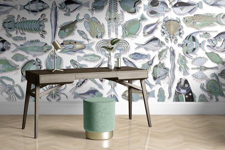 Modern Poissons du Mangi - custom mural wallpaper (sea green) For Sale