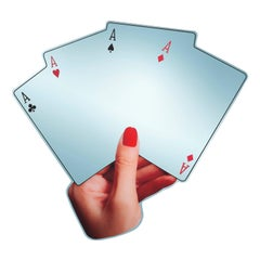 Poker - 21st Century Contemporary Shaped Wall Mirror with Printed Hand