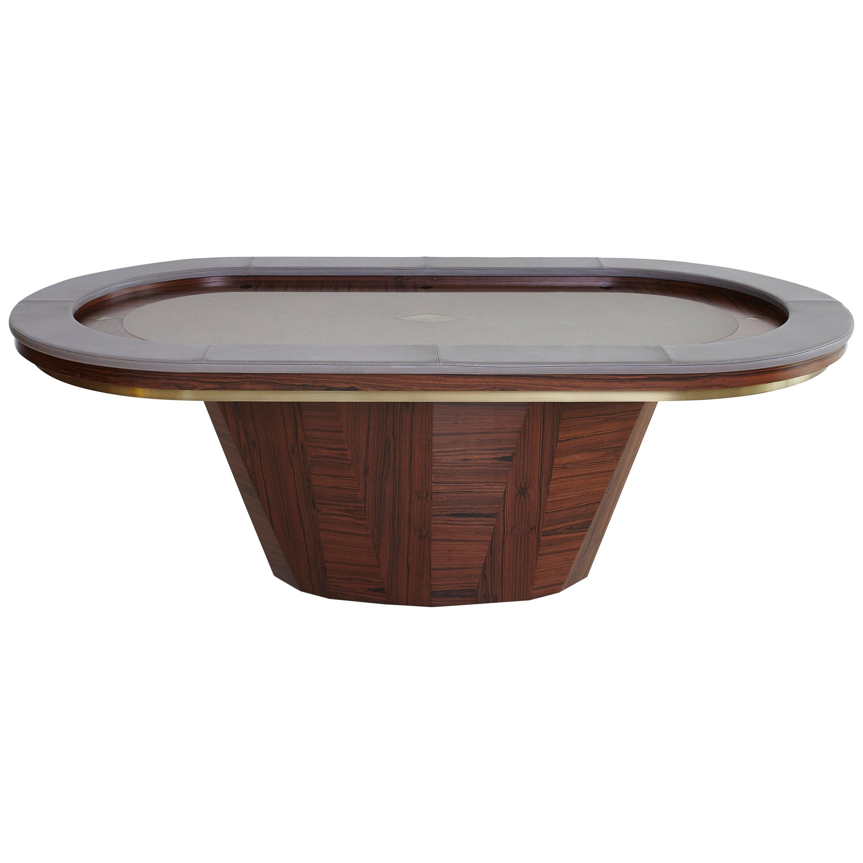 """POKER"" Contemporary Pau Ferro Wood and Metal Table"
