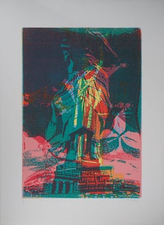 New York : Statue of Liberty - Original Lithograph, Handsigned - Limited /70