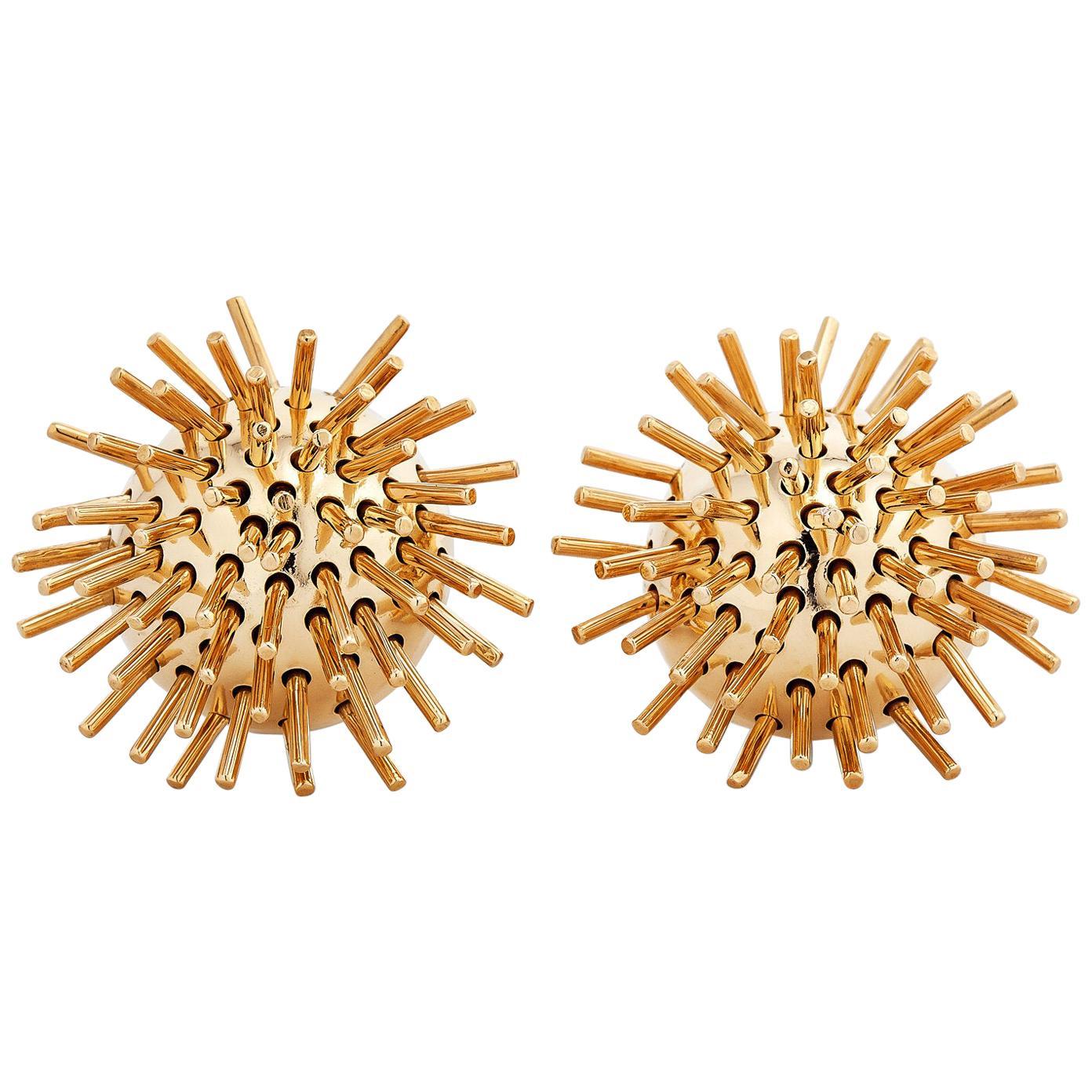 "Pol Bury Vintage Gold Kinetic ""Sputnik"" Clip Earrings"