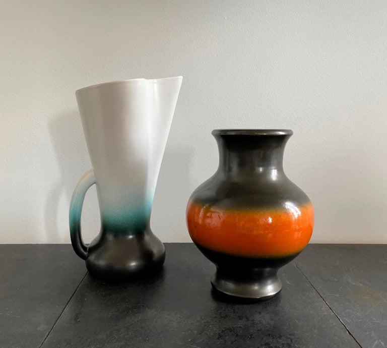 Mid-20th Century Pol Chambost Black & Orange Ceramic Vase, France 1950s For Sale
