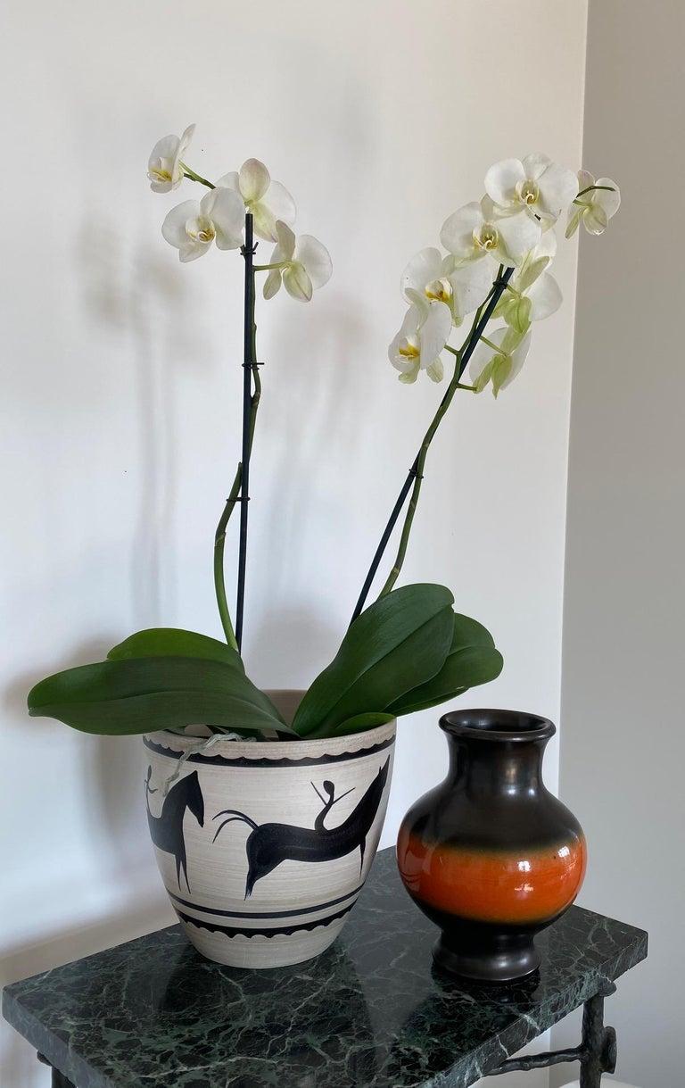 Pol Chambost Black & Orange Ceramic Vase, France 1950s For Sale 1