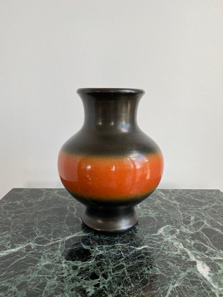 Pol Chambost Black & Orange Ceramic Vase, France 1950s For Sale 2