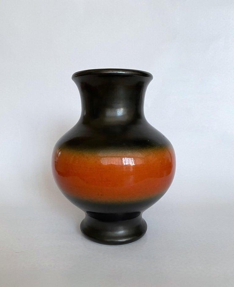 Pol Chambost Black & Orange Ceramic Vase, France 1950s For Sale 3