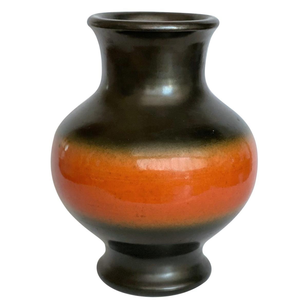 Pol Chambost Black & Orange Ceramic Vase, France 1950s