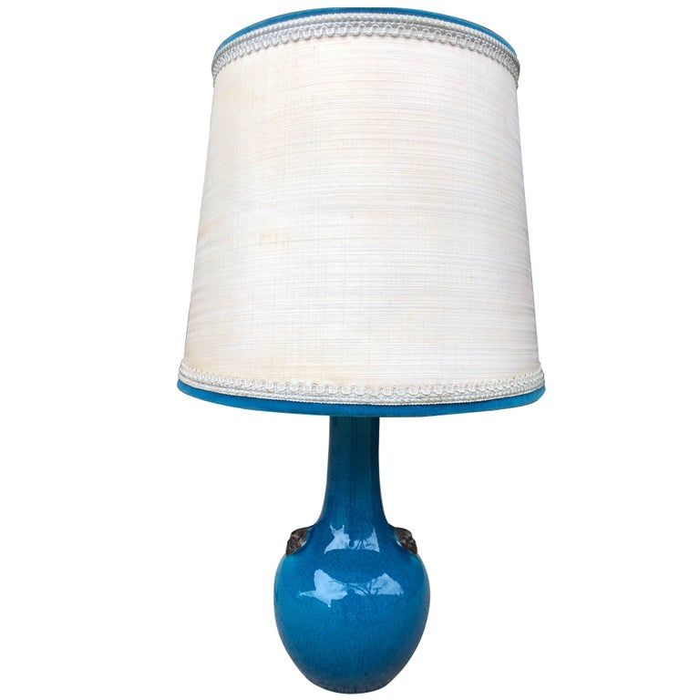 Pol Chambost Blue Craqueleur Lamp with Original Shade; Signed For Sale
