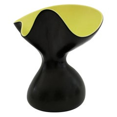 Pol Chambost Iconic Corolle Art Pottery Black & Yellow Glazed Vase Designed 1955