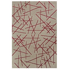 Polanski Rug in Beige and Red Felted Wool by Essential Home