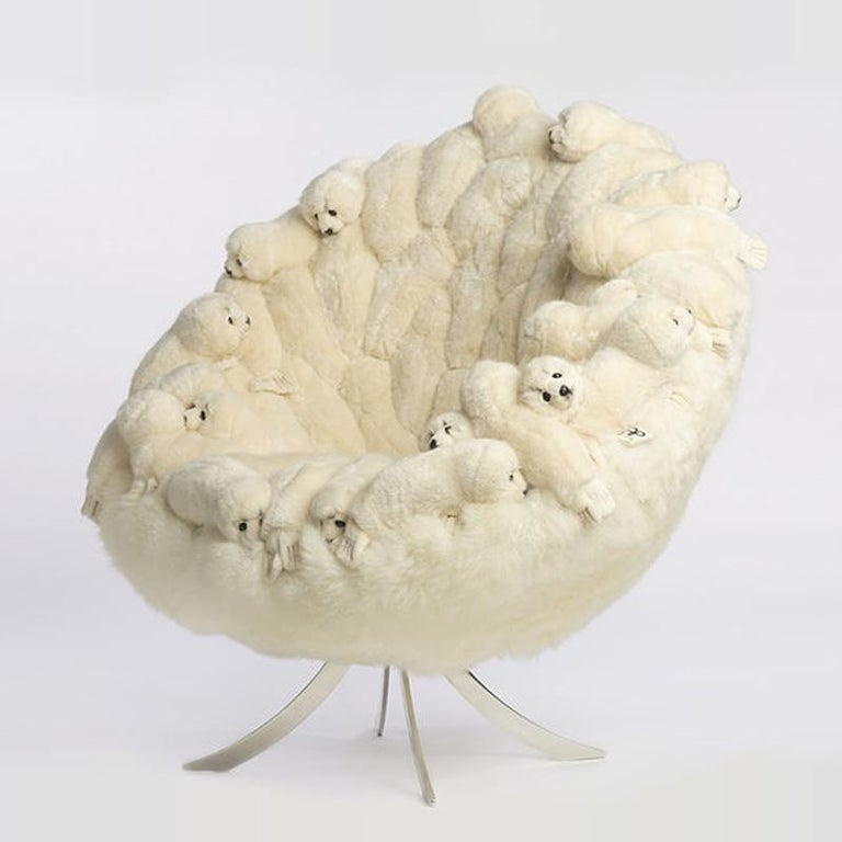 Belgian Polar Plush Baby Seals Armchair Swivel in Limited Edition For Sale