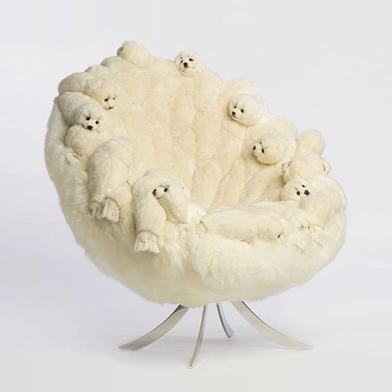 Polished Polar Plush Baby Seals Armchair Swivel in Limited Edition For Sale